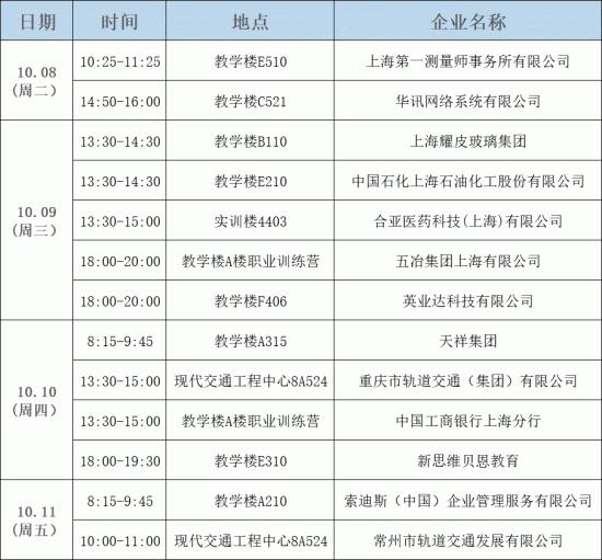 2020屆校園招聘早道   一周校園宣講會安排(10.08~10.11)